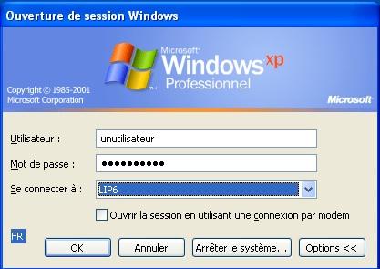 Fen tre d 39 ouverture de session windows style classique for Fenetre windows xp
